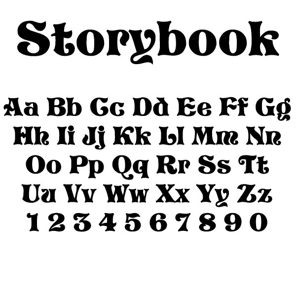 Storybook Block Font Colors and font selectionsStorybook Drop Cap Font